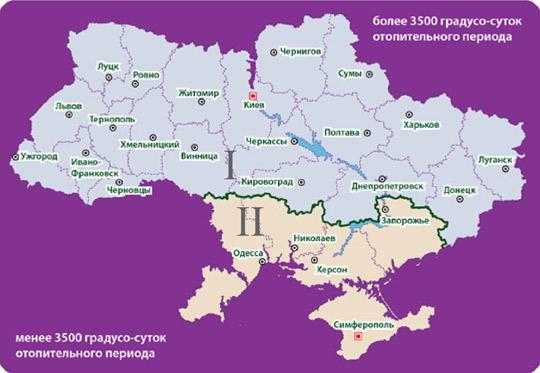 Карта схема температурных зон Украины